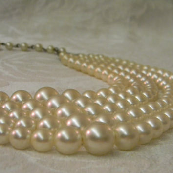 Vintage Laguna 5 Strand Faux Pearl Necklace by TheVintageBrides