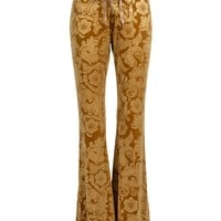 Desert Rose Mustard Yellow Burnout Velvet Flared Bell Bottom Pants