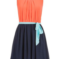 Pleated Top Tie Waist Chiffon Dress - Coral