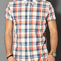 Cotton Plaid Pocket Shirt Cream/Coral