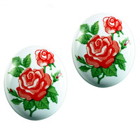 June Rose Earrings Avon Vintage Oval Red White Pierced Retro Flowers e200