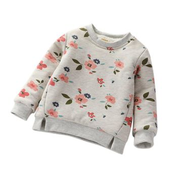 Winter Autumn Baby Kids Girls Floral Print Leisure Long Sleeve T-shirt Fashion Girl Clothes T Shirt Top New