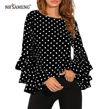 Womens Flare Sleeve Loose Polka Dot Shirt
