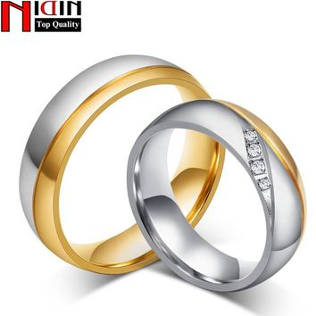 NIDIN 316l Stainless Steel Rings For Women Man Wedding Ring Gold-color Promise Jewelry lord of the rings