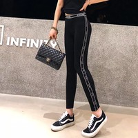 """""""Chanel"""" Women All-match Casual Fashion Letter Ribbon Stitching Thickened Leggings Cotton Sweatpants Trousers"""