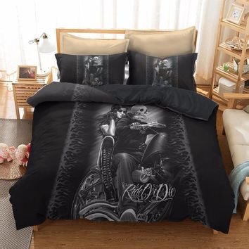 Cool Gotico Comforter Bedding Sets Duvet Cover King Queen Size Punk Rock Gothic Lit Bed Linen Europe Style 3D housse de couette CAT_93_12