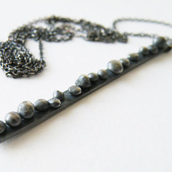 Oxidized Dotted Bar Necklace Sterling Silver Long Pendant Necklace Abstract Necklace Minimalist Jewelry by SteamyLab