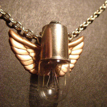 Steampunk Flying Light  Bulb with Wings by CreepyCreationz on Etsy