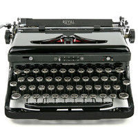NEAR MINT, RARE 1938 Royal Speed King Typewriter, Professionally Serviced, Black Typewriter, Royal Typewriter, Working Typewriter