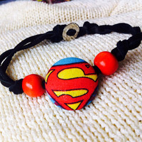 Superman Supergirl Fabric Button Bracelet, Covered Button Bracelet, Superhero Bracelet, Cosplay, Comic Con Bracelet