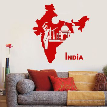 Vinyl Wall Decal India Map Country Hindu Girl Dancer Taj Mahal Stickers (2612ig)