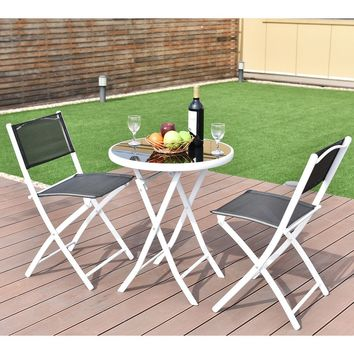 3 PCS Folding Bistro Table Chairs Set Garden Backyard Patio Furniture Black New