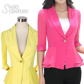 2017 Summer Women Slim Three Quarter Sleeve Blazer Work Office Lady Business Outwear Casual Coat White/Pink/Yellow Jacket