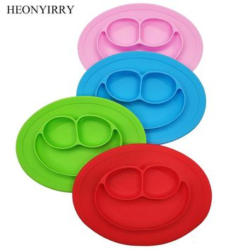 Baby Silicone Dining Plates Food Grade Toddle Dishes Cute Smile Face Lunch Tableware Children Fruit Tray Baby Kids Feeding Bowl