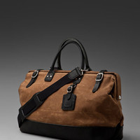 Billykirk Large Carryall Bag in Sienna Waxed Cotton/Black Leather from REVOLVEclothing.com