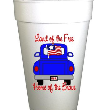 Patriotic Truck 4th of July Holiday Styrofoam Cups