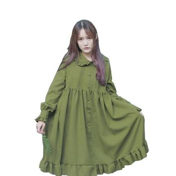 2018 new spring Japanese soft sister doll collar ruffles long-sleeved loose Single-breasted dress female T957