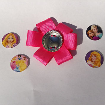 Princess Bottle cap hair bow, bottle cap jewelry, Princess party, personalized magnetic bottlecap hair bow, character hair bow