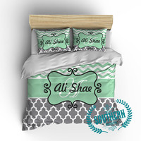 Personalized Chevron and Quatrefoil Bedding Set in Mint, Gray