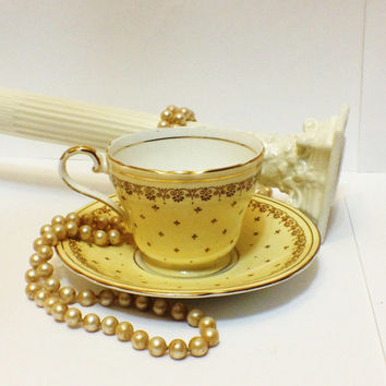Antique Aynsley Demitasse Cup, Saucer, Custard Cream, Brown Floral Motif, Gold, Scalloped Rims, 1934-1939