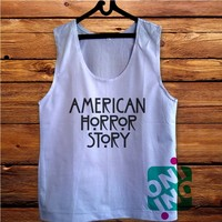 American Horror Story Men's White Cotton Solid Tank Top