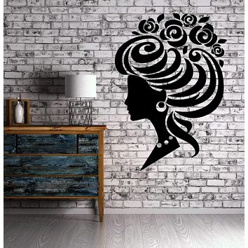 Sexy Classy Lady Hair Up Do Style Flower Decor Wall Mural Vinyl Art Sticker Unique Gift M511