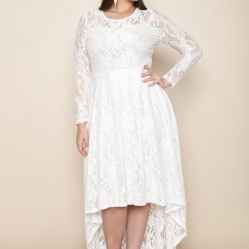 White Fancy Lace Floral New Year Eve Plus Size Maxi Dress