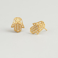 Gold Hamsa Stud Earrings | World Market