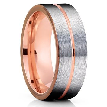 Espresso Tungsten Wedding Band - Rose Gold Tungsten - Gray Ring