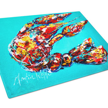 Lucy the Crawfish in blue Glass Cutting Board Large Size MW1161LCB