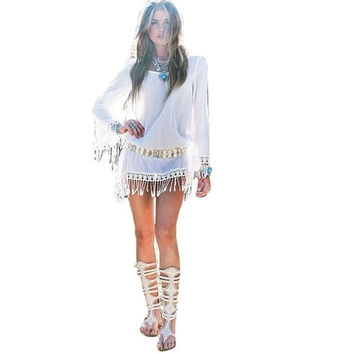 Casual Summer Style Summer Dress 2015 Women Dress White Fringe Tassel Long Sleeve Dresses Women Clothing Vestido Vestidos Robe = 5613032897