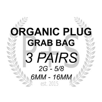 At least 40% OFF original value, Organic ear plug grab bag, 3 pairs from 2g, 0g , 00g to 5/8 16mm