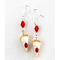 White Chocolate Raspberry Cheesecake Dangle Earrings