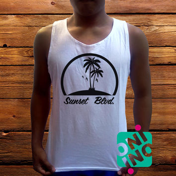 Sunsets Boulevard Logo Men's White Cotton Solid Tank Top