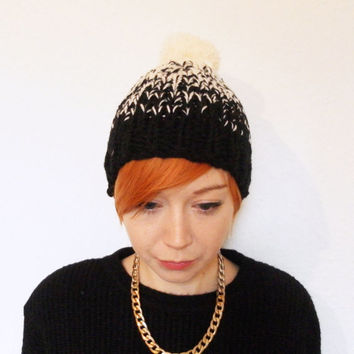 Ombre Knitted Bobble Hat with Large Pom Pom, Hand Knitted Beanie, Black to Cream in Chunky Knit, Made To Order