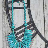 Tribal Tiered Turquoise Statement Necklace
