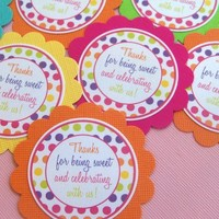Bright Polka Dot Candyland SWEET SHOP Scallop Favor Tags Hot Pink lime green Yellow purple TURQUOISE Set of 12