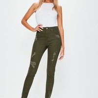 Missguided - Khaki Sinner High Waisted Ripped Skinny Jeans