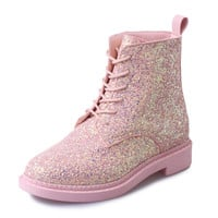 2016 new winter influx of European and American sequined lace PU low cylinder boots Martin boots Korean female fashion round