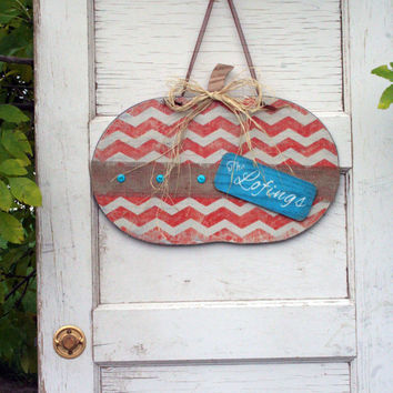 Halloween Fall Decor Personalized Door Decor Wood Pumpkin Wallhanging Rustic Shabby Chic Distressed Wood Turquoise Orange Chevron Stripe