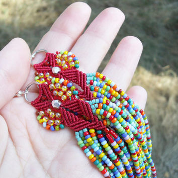 Long micro macrame earrings - Tassel Fringe Red Rainbow Unique