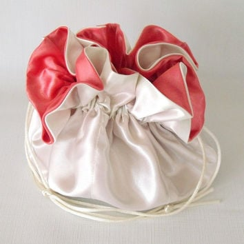 Jewelry Drawstring Travel Bag, Pouch Ivory Satin and Coral Extra Large