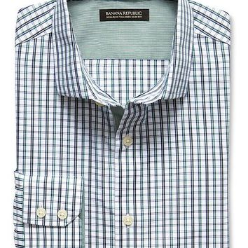 Banana Republic Mens Tailored Slim Fit Non Iron Open Plaid Shirt