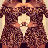 Leopard Print Slash Neck Flounce Dress