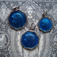 Vintage Religious Medals with Blue Enamel