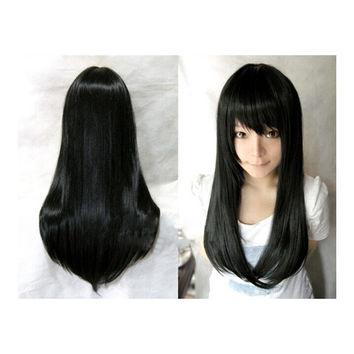 Wonderland Long 60cm Blonde Straight Synthetic Cosplay Wig   natural black
