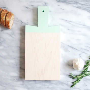 Mint Green Maple Paddle Cutting Board | Host Gift | Wooden Cutting Board | Painted Chopping Board | Hostess Gift