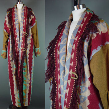 90s Indian Blanket Coat Vintage Wool Southwestern Long Serape Sarape Native Full Length XL XXL