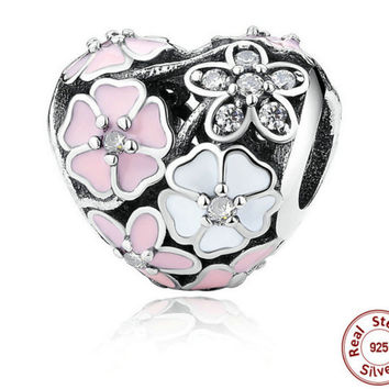 925 Silver Jewelry Poetic Blooms, Mixed Enamels & Clear CZ Heart Charms Fit Bracelet PANDORA