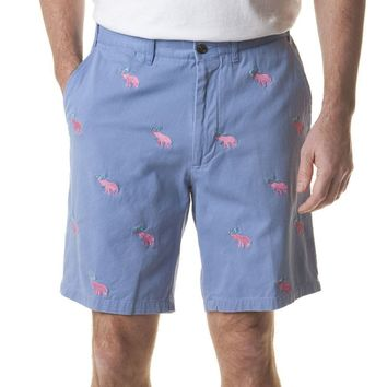 Cisco Short in Storm with Embroidered Pink Elephant Martinis by Castaway Clothing